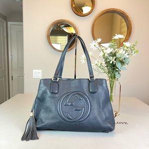 Gucci GG LoGo Soho Totes Satchel Handbag Navy blue